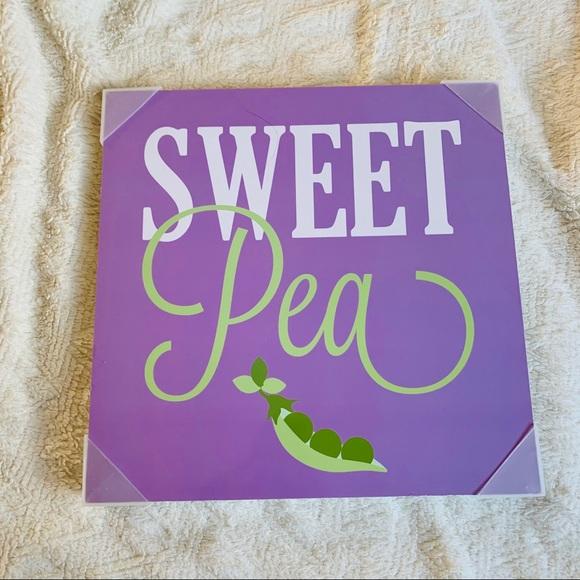 "Other - Nursery Decor Purple Green Wall Sign ""sweet Pea"""